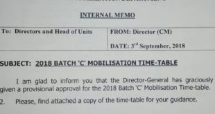 NYSC 2018 Batch C Viral Mobilization Time Table