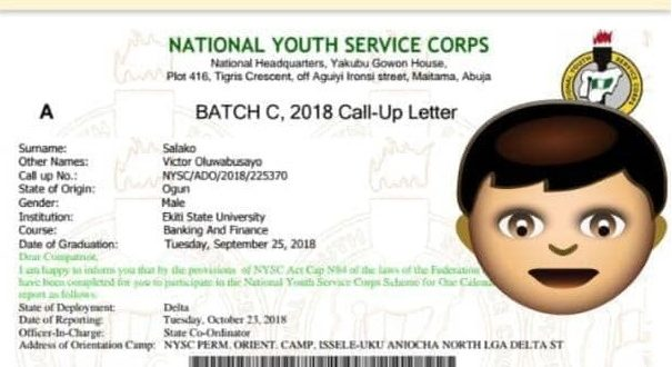 NYSC 2018 Batch C Call-up letter