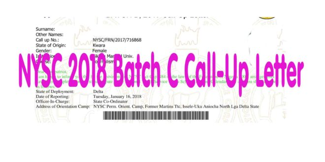 NYSC 2018 Batch C Call-Up Letter Update