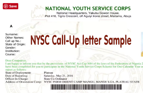 Official NYSC Call Up Letter Sample - The Picture And The Details
