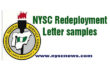 NYSC Redeployment Letter Sample - Pictures