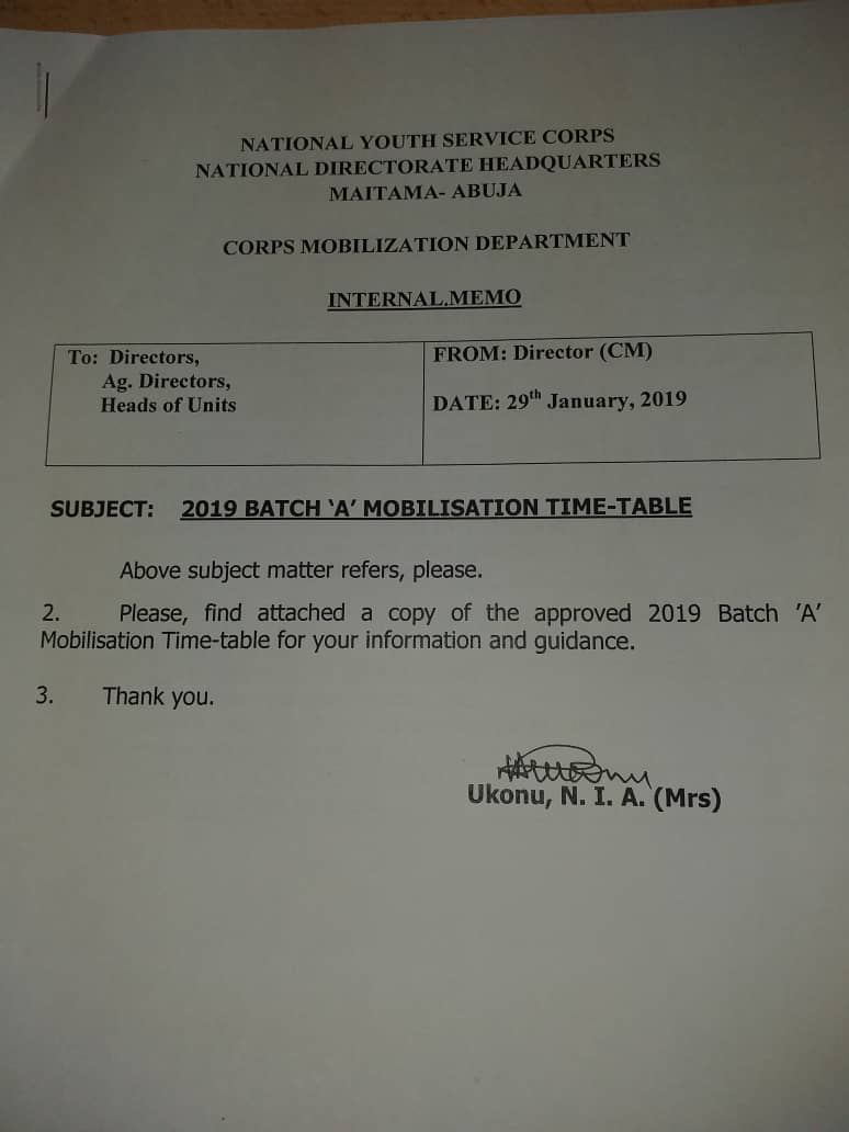 NYSC Timetable For 2019 Batch A Is Here