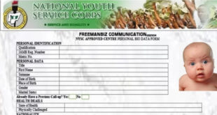 NYSC Registration Form Sample