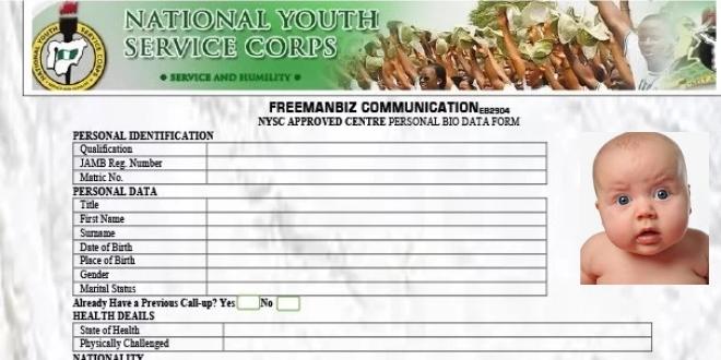 NYSC Registration Form Sample