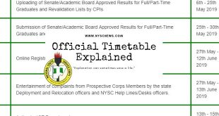 NYSC Batch B 2019 Mobilization Timetable