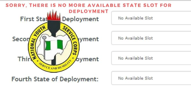 NYSC No Available Slot Issue