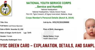 NYSC Green Card – Explanation, Details, And Sample
