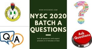 NYSC 2020 batch A questions