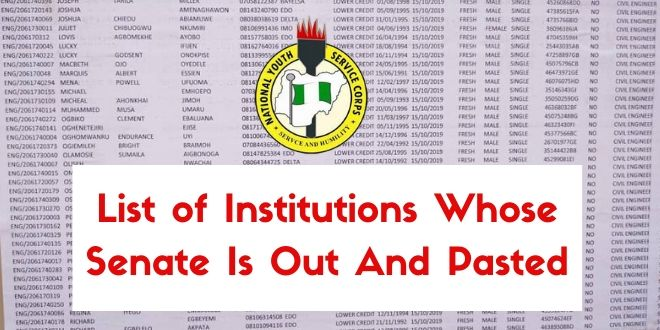 List of Institutions Whose Senate Is Out And Pasted