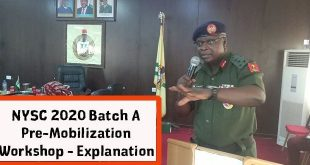 NYSC 2020 Batch A Pre-Mobilization Workshop