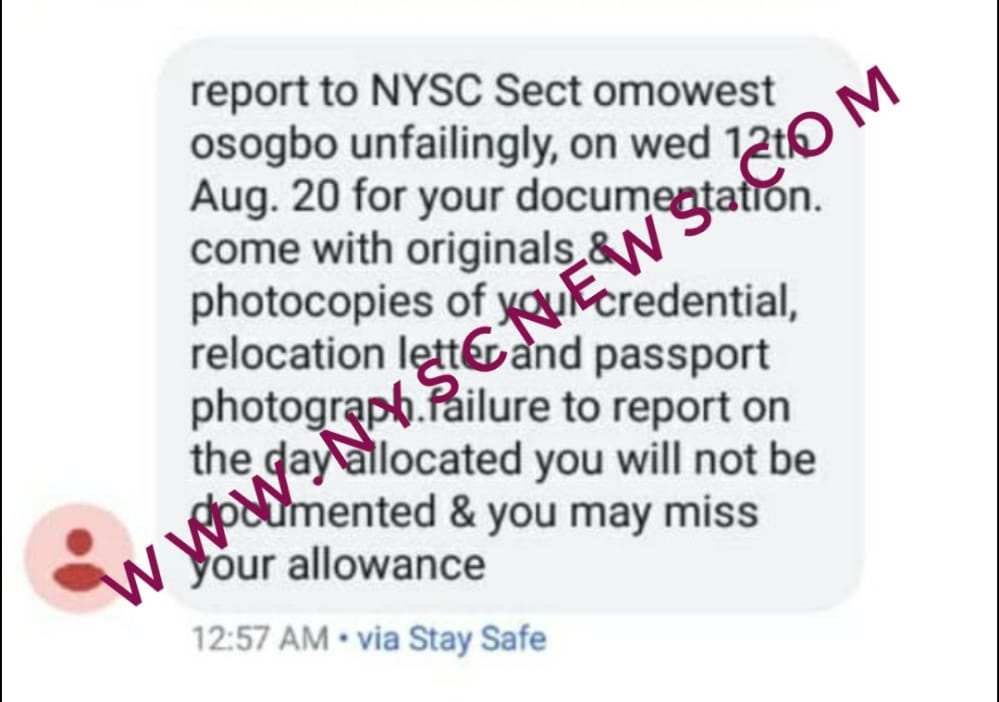 NYSC Resumption, Documentation & Text Messages Vital updates - Must Read