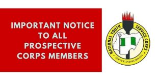 Important Notice To All Prospective Corps Members