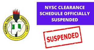 NYSC Clearance Schedule Officially Suspended