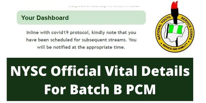 NYSC Official Vital Details For Batch B PCM