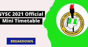 NYSC 2021 Official Mini Timetable