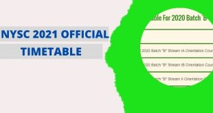 NYSC 2021 Batch A Time Table