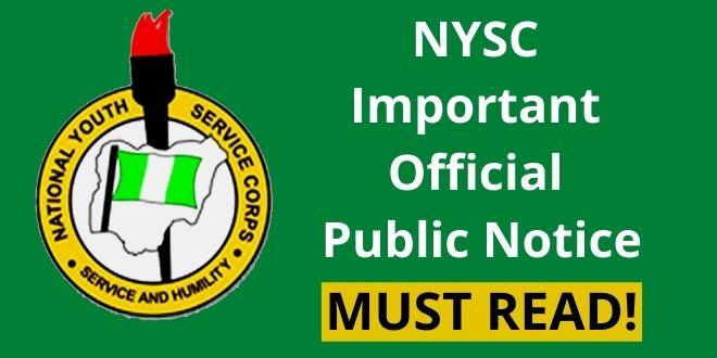 NYSC Important Official Public Notice