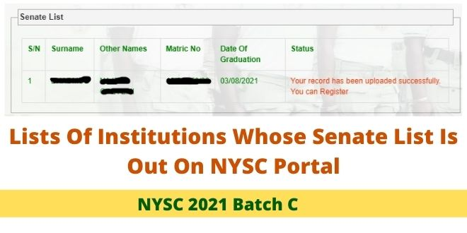 Lists Of Institutions Whose Senate List Is Out On NYSC Portal