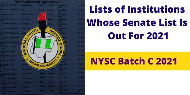 Lists of Institutions Whose Senate List Is Out For 2021