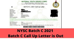 NYSC Batch C 2021 Batch C Call Up Letter is Out