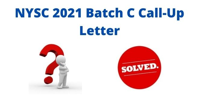 NYSC 2021 Batch C Call-Up Letter